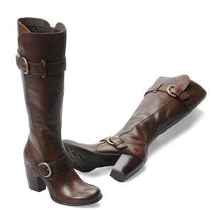 Born Rimes Double Buckle Boots Cognac Burnished 6